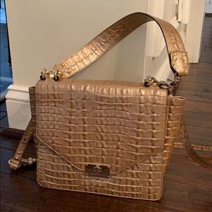 Brahmin Gold Crocodile Embossed Convertible Bag